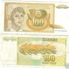 YUGOSLAVIA 1990 100 DINARA HIGH DENOMINATION~FREE SHIP~