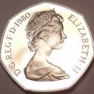 Huge Proof Great Britain 1980 50 Pence~Only 100,000 Minted~Excellent~Free Ship