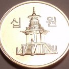 Gem Unc South Korea 2010 10 Won~Dabotab The Pagota Of Many Treasures~Free Ship~