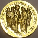 PROOF LONGINES WITTNAUER 24K GOLD PLATED MEDALLION~WASHINGTONS FAREWELL~FREE SHI