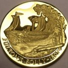 PROOF LONGINES 24K GOLD PLATED MEDALLION~1807 FULTONS FOLLY STEAMBOAT~FREE SHIP~