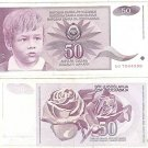 YUGOSLOVIA 50 DINARA HIGH DENOMINATION NOTE CHILD FR/SH