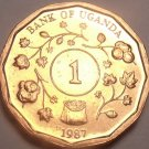 Unc Uganda 1987 Shilling~Only Year Ever Minted This Type~Free Shipping~