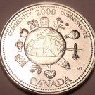 Gem Unc Canada 2000 Quarter Minted to commemorate the Millenium~Community~Fr/Shi