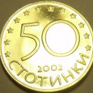 RARE PROOF BULGARIA 2002 50 STOTINKI~LAST YEAR~10K MINTED~FREE SHIPPING INCLUDED