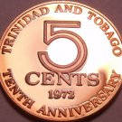 Rare Proof Trinidad & Tobago 1972 5 Cents~10th Anniversary Coin~Free Shipping