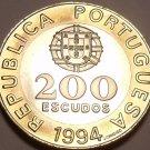 HUGE BI-METAL PROOF PORTUGAL 1994 200 ESCUDOS~WOW~F/SH