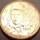 Gem Brilliant Uncirculated France 2005 1 Euro Cent~Human Face~Free Shipping