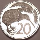 Rare Large Cameo Proof New Zealand 1973 20 Cents~Kiwi~Only 8,000 Minted~Free Shi