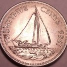 Unc Bahamas 1966 25 Cents~Bahamian Sloop~1st Year For Bahama Coinage~Free Ship*