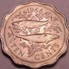 Unc Bahamas 1966 10 Cents~Bonefish~1st Year For Bahama Coinage~Free Shipping*