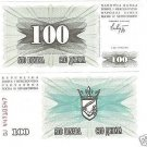 BOSNIA & HERZEGOVINIA UNC 100 DINARA NOTE~FREE SHIPPING