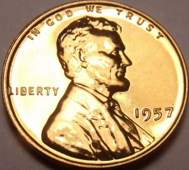 Rare Proof United States 1957 Wheat Cent~We Have Proof Cents~Free Shipping