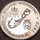 Rare Silver Proof Bermuda 1972 Dollar~Silver Wedding Anniversary~14k Minted~Fr/S