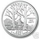 2001-P VERMONT BRILLIANT UNCIRCULATED STATE QUARTER