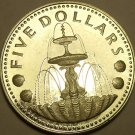 MASSIVE SILVER PROOF BARBADOS 1973 FIVE DOLLARS~1ST YEAR EVER MINTED~FREE SHIP~