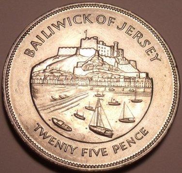 Massive Jersey Unc 1977 25 Pence~Mont Orgueil Castle And Gorey Harbour~Free Ship