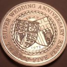 Rare Gem Unc Isle Of Man 1972 25 Pence~Silver Wedding Anniversary~Free Shipping