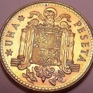Gem Unc Spain 1975(80) 1 Peseta~Eagle Flanked by Pillars with Banner~Free Ship