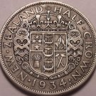 Huge Silver New Zealand 1934 Half Crown~King George V~Free Shipping