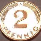 Gem Cameo Proof Germany 1982-D 2 Pfennig~Minted In Munich~78,000 Minted~Free Shi
