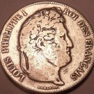 Massive Silver France 1832-B 5 Francs~Louis Philippei I~Free Shipping