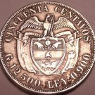Large Silver Colombia 1922 50 Centavos~Only 150,000 Minted~Free Shipping