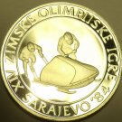 HUGE SILVER PROOF YUGOSLAVIA 1984 100 DINARA~OLYMPIC BOBSLEDDING~FREE SHIPPING~