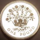 Gem Cameo Proof Great Britain 1986 Pound~Blooming Flax~Edge Incription~Free Ship