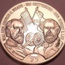 Gem Unc Liberia 1999 5 Dollars~Robert E. Lee And George G. Meade~Gettysburg~Fr/S