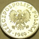 GEM UNC POLAND 1949 1 GROSZ ONLY YEAR EVER MINTED FR/SH