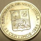 Gem Uncirculated Venezuela 1965-I 25 Centimos~Head Of Bolivar~Free Shipping