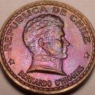 Rare Gem Unc Chile 1952 20 Centavos~General Bernardo O'Higgins~Free Shipping