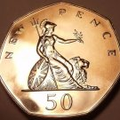 HUGE PROOF GREAT BRITAIN 1977 50 PENCE~FREE SHIP~