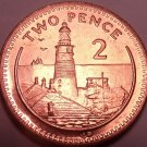 Large Gem Unc Gibraltar 1994 2 Pence~Lighthouse on Europa Point~Free Shipping