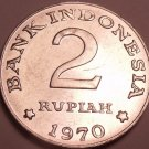 Large Bu Indonesia 1970 2 Rupiah~Only Year~Rice And Cotton Stalks~Free Shipping