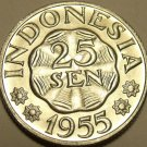 GEM UNC INDONESIA 1955 25 SEN~FREE SHIPPING~1ST YEAR EVER MINTED~
