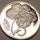 Cameo Proof Cook Islands 1975 5 Cents~Hibiscus Flower~21,000 Minted~Free Ship