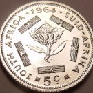 Silver Proof South Africa 1964 5 Cents~Only 16,000 Minted~Free Shipping