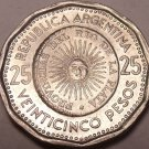 Large Unc Argentina 1968 25 Pesos~1st Issue Of Coinage~Sunface~Key Date~Free Shi