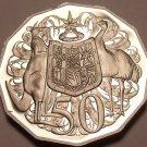 Huge Cameo Proof Australia 1985 50 Cents~Kangaroo & Emu~75k Minted~Free Shipping