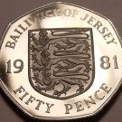 Huge Rare Gem Cameo Proof Jersey 1981 50 Pence~Only 15,000 Minted~Free Shipping
