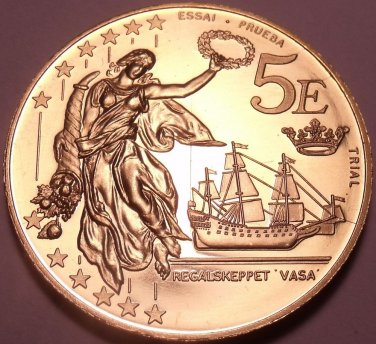 Massive Rare Sweden 2003 5 Euros~Essai Trial Preuba Pattern Proof~17K Minted~F/S