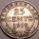Rare Silver Canada Newfoundland 1919 25 Cents~Only 163,939 Minted~Free Shipping