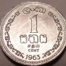 Gem Unc Ceylon 1963 One Cent~1st Year Ever Minted~Free Shipping~