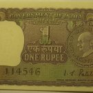 INDIA RARE 1969 ONE RUPEE~MAHATMA GANDHI~FREE SHIP~SEE OUR STORE FOR BANKNOTES~
