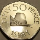 Huge Rare Gem Cameo Proof Guernsey 1981 50 Pence~Cap Of Duke Of Normandy~Fr/Ship