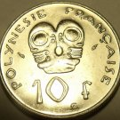 Unc French Polynesia 1984-A 10 Francs~Native Art~I.E.O.M.~Free Shipping