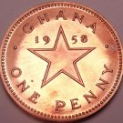 Rare Proof Ghana 1958 Penny~Only 20,000 Minted~Dr. Kwame Nkrumah~Free Ship
