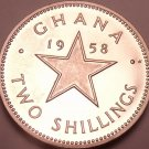 Rare Proof Ghana 1958 2 Shillings~Only 20,000 Minted~Dr. Kwame Nkrumah~Free Ship